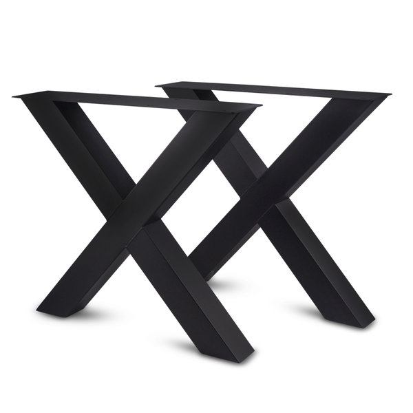 Stalen kruispoot - SET (2 stuks) 10x10 cm - 72 cm hoog - 78 cm breed - incl. coating