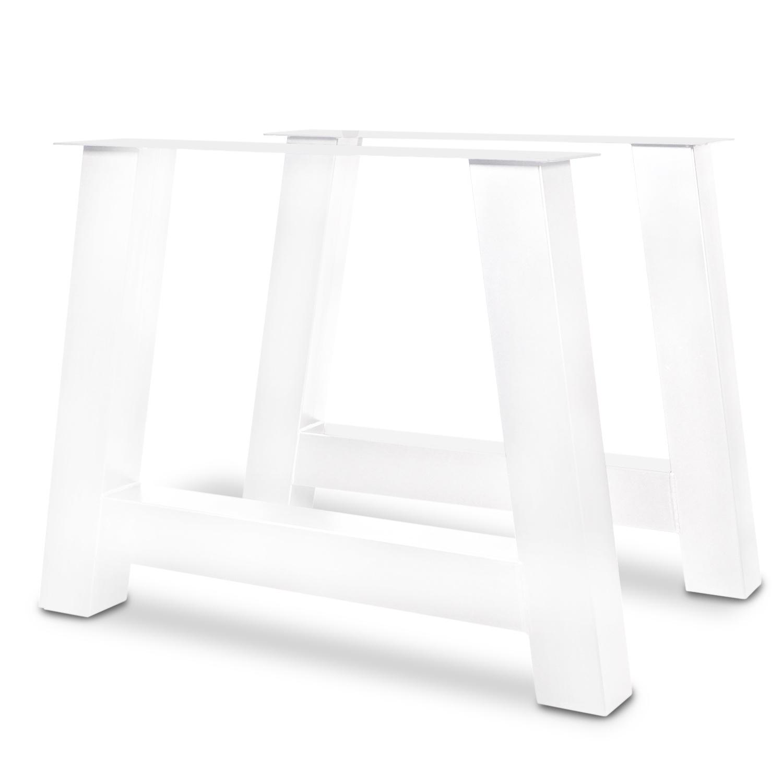 Stalen A-poot SET (2 stuks)  10x10 cm - 72 cm hoog - 78-94 cm breed - 3 mm dik - H tafelpoot staal gepoedercoat (fiinstructuur) - transparant - zwart - antraciet - wit
