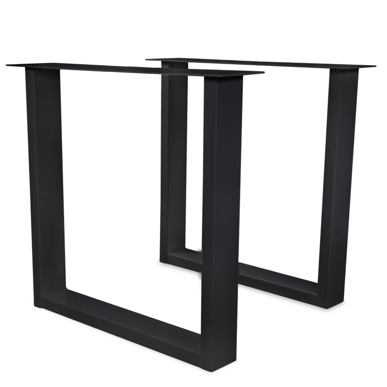 Stalen U-poot SET (2 stuks)  10x4 cm - 72 cm hoog - 78-70 cm breed - U-tafelpoot staal (gepoeder)coat (fijnstructuur) - zwart - antraciet - wit