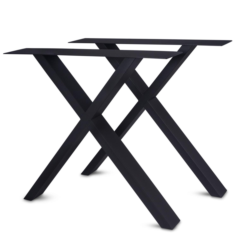 Stalen X-poot SET (2 stuks)  10x4 cm - 72 cm hoog - 78-77 cm breed - Kruis tafelpoot gecoat (zwart, antraciet of  wit)