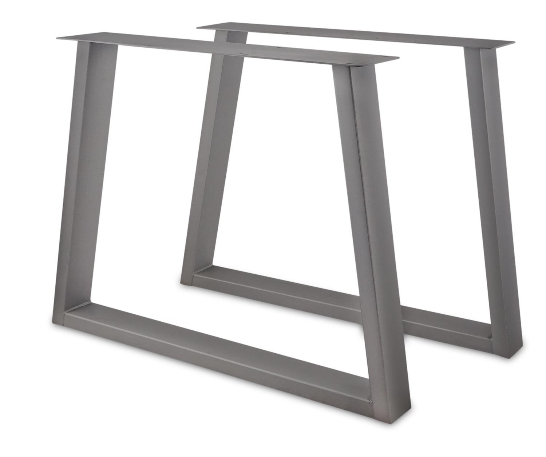 RVS Trapeze poot SET (2 stuks)  10x4 cm - 72 cm hoog - 78-94 cm breed - INOX kruis Trapezium tafelpoot - Roestvrij / Roestvast staal