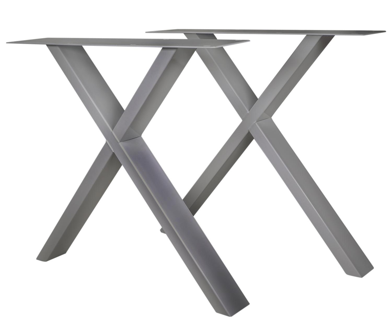RVS X-poot SET (2 stuks)  10x4 cm - 72 cm hoog - 78-77 cm breed - INOX kruis tafelpoot - Roestvrij / Roestvast staal