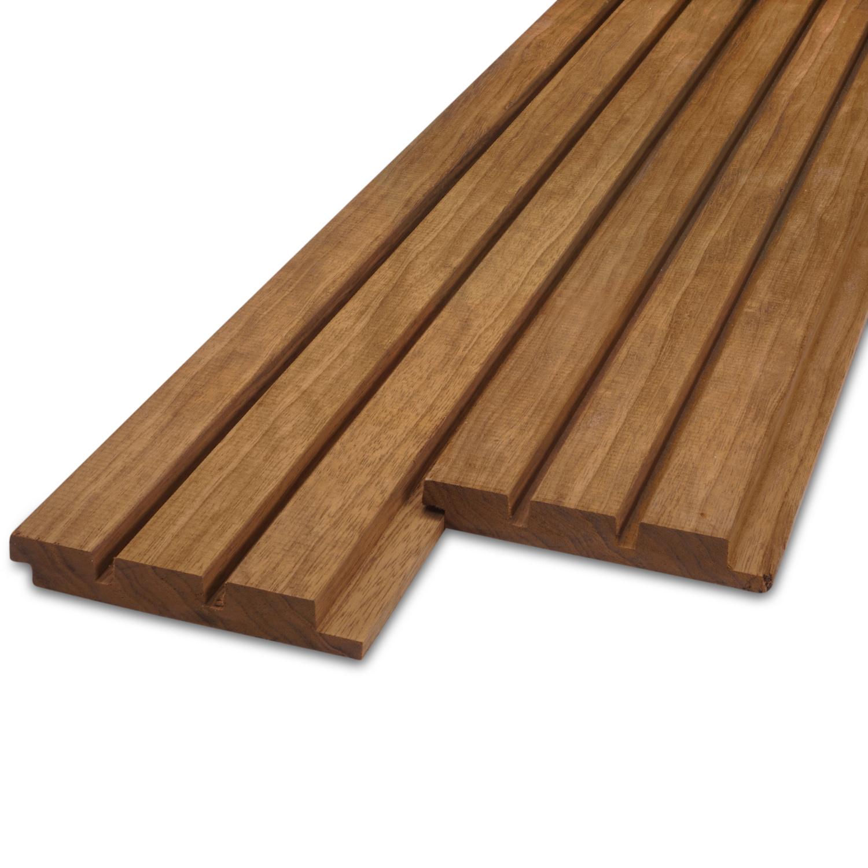 Thermowood fraké Deens rabat blokprofiel 21x125mm - geschaafd - kunstmatig gedroogd (kd 8-12%) - thermisch gemodificeerd fraké hout (thermohout)