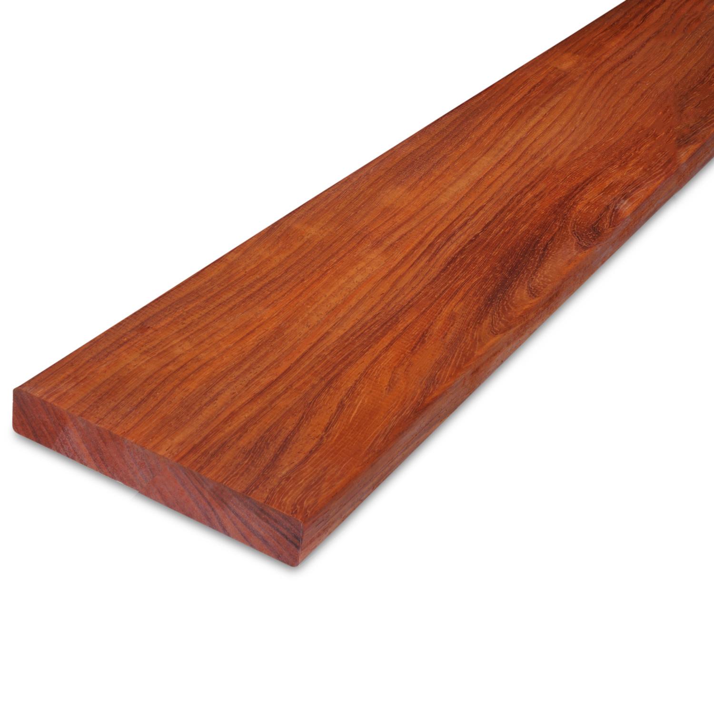 Padouk hardhouten plank 21x120mm - geschaafd padoek - tropisch hardhout - ad (aangedroogd)