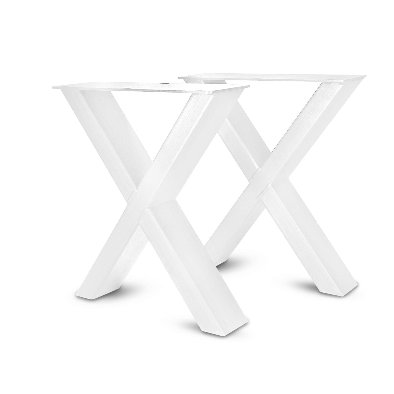 Stalen kruispoot MINI bankje - SET (2 stuks)  8x4 cm - 42 cm hoog - 36 cm breed - X-bankpoot staal ge(poeder)coat (fijnstructuur) - zwart - antraciet - wit