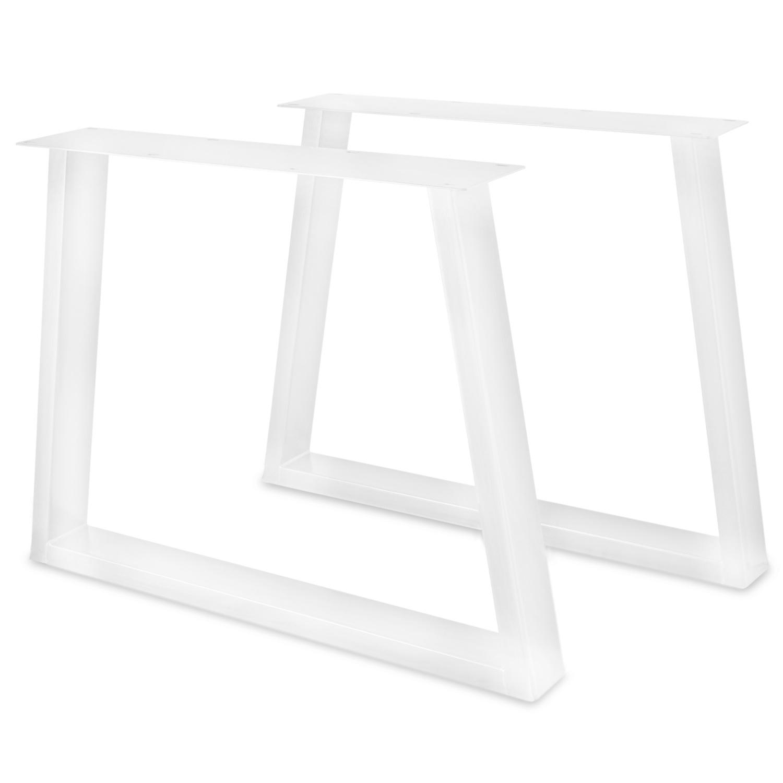 Stalen Trapeze poot SET (2 stuks)  10x4 cm - 72 cm hoog - 78-94 cm breed - Trapeze tafelpoot staal ge(poeder)coat (fijnstructuur) - zwart - antraciet - wit