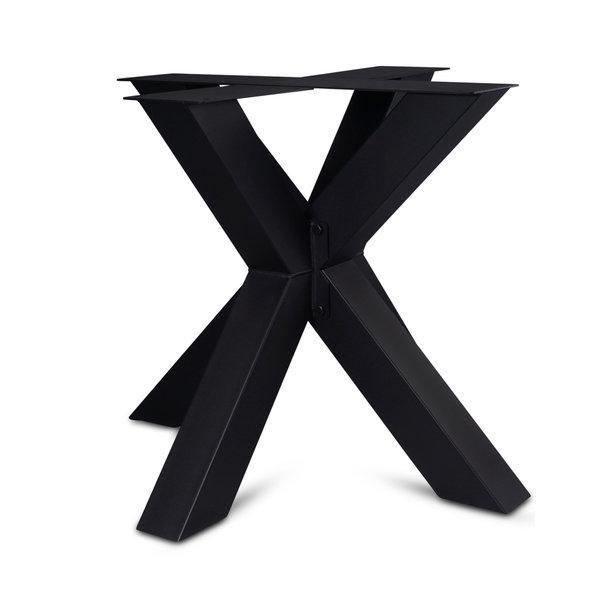 Stalen dubbele kruispoot - DRIE DELIG - 10x10 cm - 72 cm hoog - 90x90 cm - incl. coating