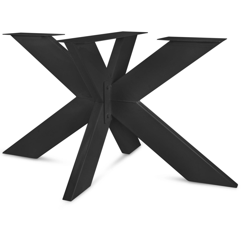 Stalen matrix 3D tafelpoot - DRIE DELIG - 15x5 cm - 72 cm hoog - 140x90 cm - Spin 3D kruis / X poot staal gepoedercoat (fiinstructuur) - transparant - zwart - antraciet - wit