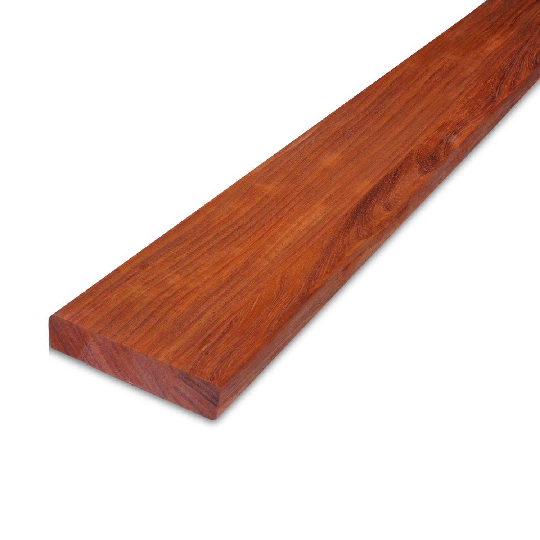 Padouk hardhouten plank 21x90mm - geschaafd padoek - tropisch hardhout - ad (aangedroogd)