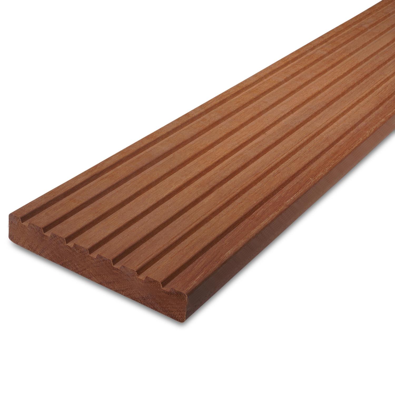 Massaranduba vlonderplank - loopdekdeel - terrasplank - 7-groefs - 25x143mm - geschaafd - tropisch hardhout - ad (aangedroogd)