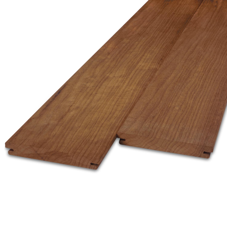 Thermowood fraké  B-fix (blinde bevestiging) classic vlonder / rabat deel 21x143mm - geschaafd - kunstmatig gedroogd (kd 8-12%) - thermisch gemodificeerd fraké hout (thermohout)