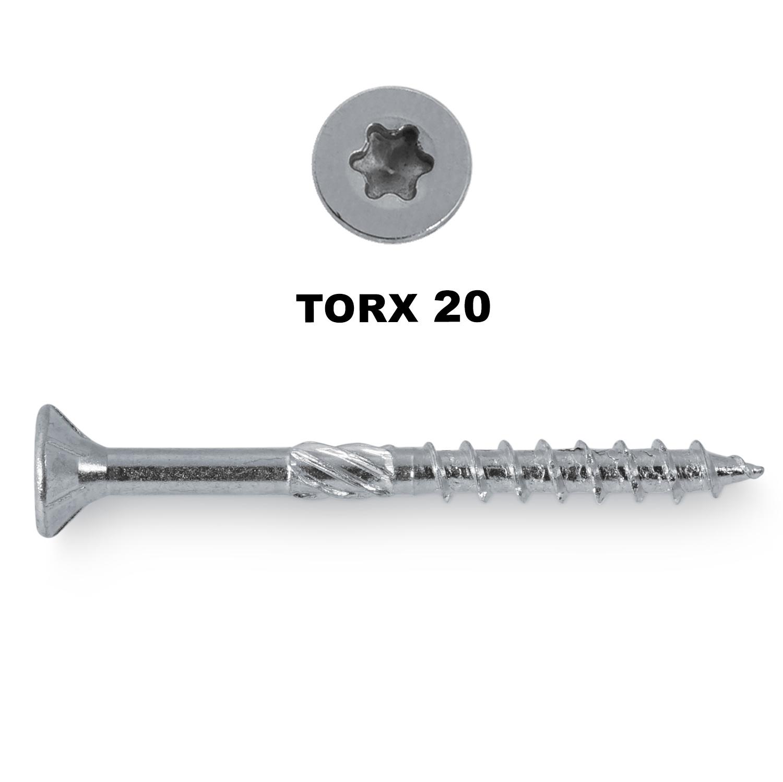 Universele houtschroeven verzinkt - 5 mm - blauw / wit verzinkt - torx 25 - schroeven voor (buiten) hout - grove spoed - met snijpunt - 200 stuks - diverse lengtes