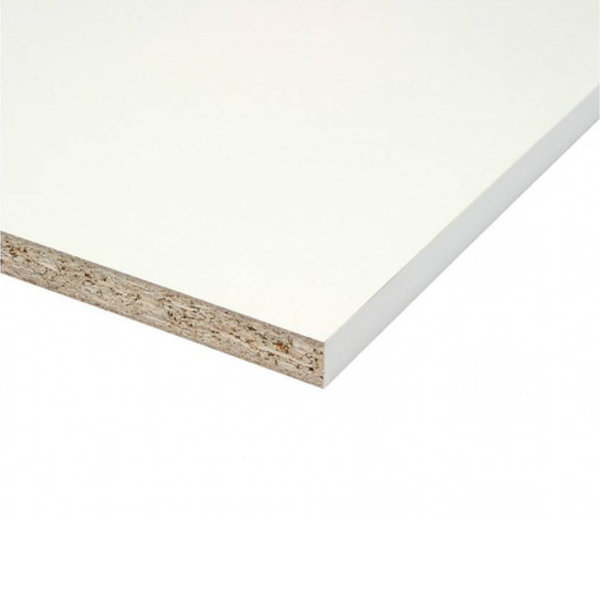 Spaanplaat wit gemelamineerd - 18 mm - 305x60 cm - meubelpaneel wit geplastificeerd
