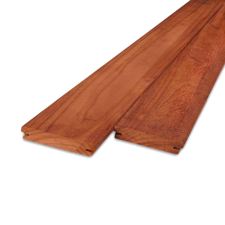 Padouk / Padoek B-fix (blinde bevestiging) classic vlonder / rabat deel 21x90mm geschaafd - ad (aangedroogd) - tropisch hardhout