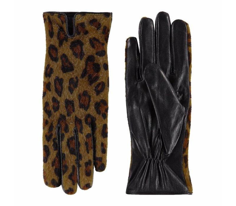 Leren dames handschoenen met panter print model Dubstep