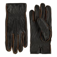 Leather men's gloves with a vintage look model Noja