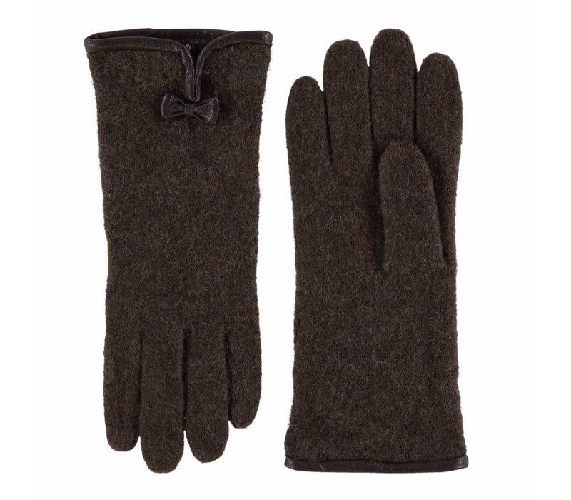 Classic wool ladies gloves with bow model Kiel