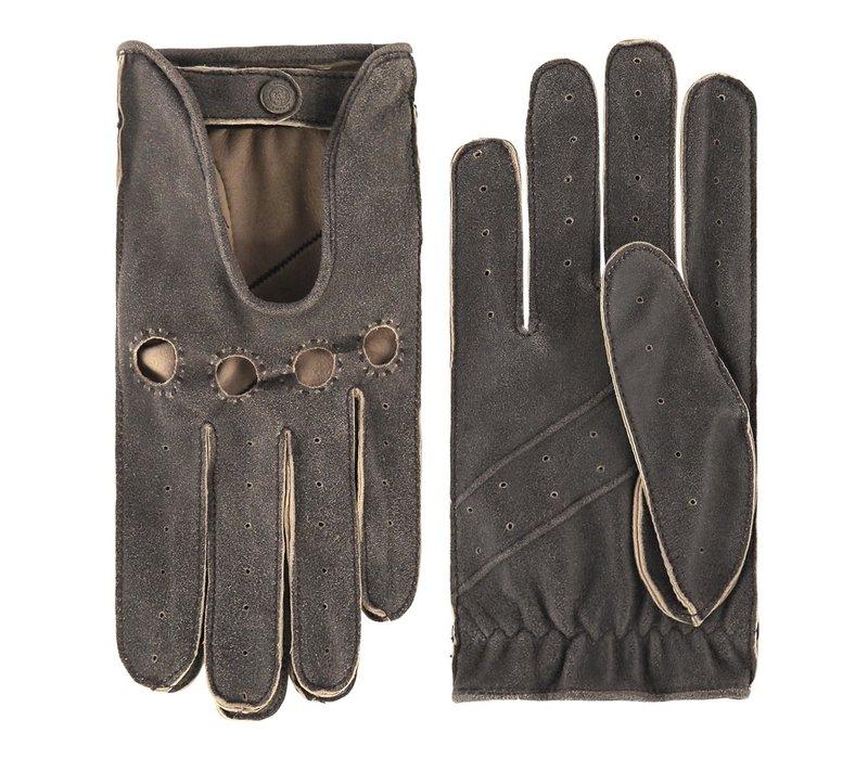 Vintagelook leren autohandschoenen heren model Gladstone