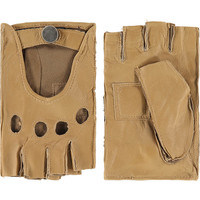 Leather classic ladies driving gloves with half fingers model Chihuahua
