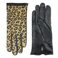 Leren handschoenen dames met luipaard print model Isaba