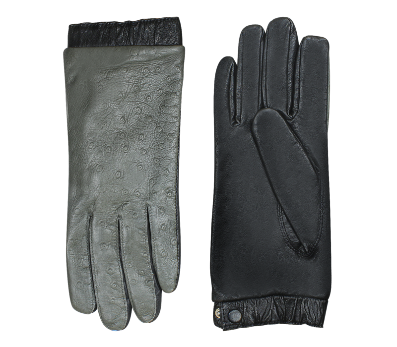 Leather ladies gloves with ostrich look print model Lavis