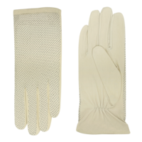 Leather unlined ladies gloves with perforated upper hand model Acapulco