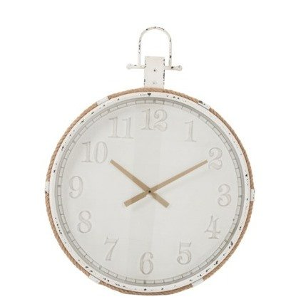 J-Line Metal clock old white with cord