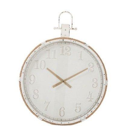 J-Line Metall Uhr altweiß mit Kordel
