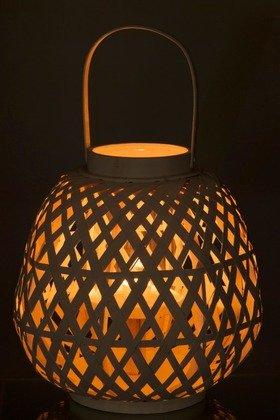 J-Line Lantern Bamboo white