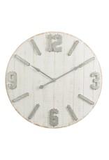 J-Line Clock Planks+ Zinc Wood White Natural Large