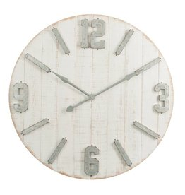 J-Line Clock Planks+ Zinc Wood White Natural Large