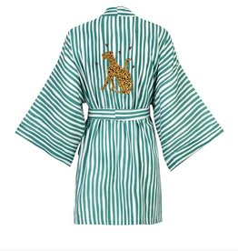 Anna + Nina Short Kimono Striped Sea Green