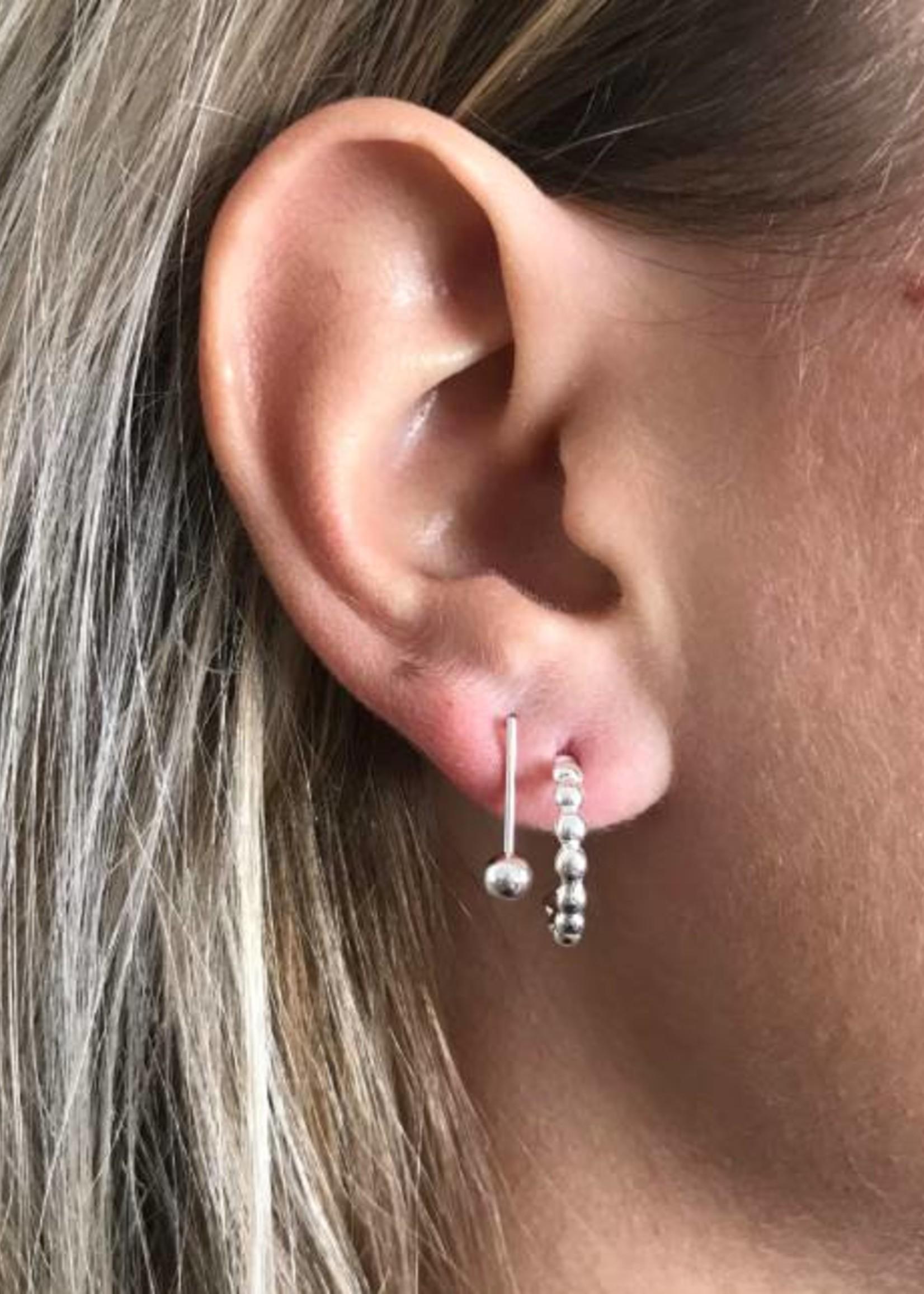 Eline Rosina Bar & ball earrings silver