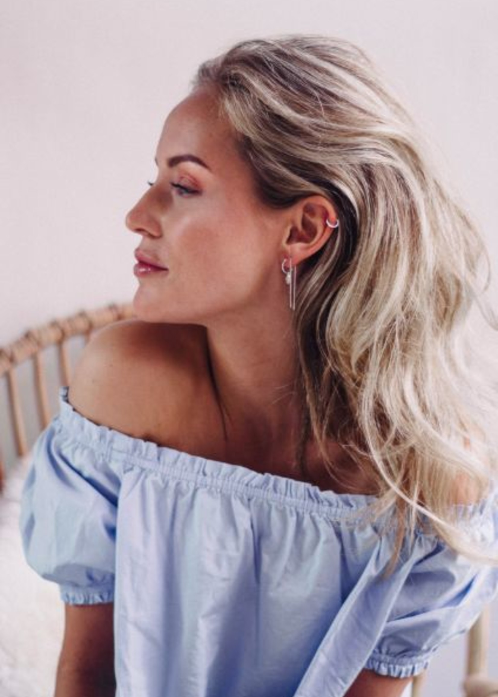 Eline Rosina Single double bar threader silver