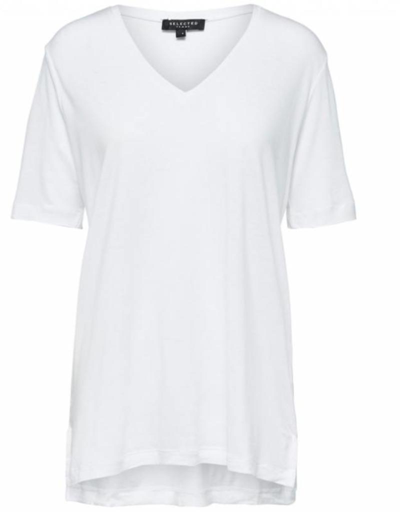 Selected Femme V-neck Top White