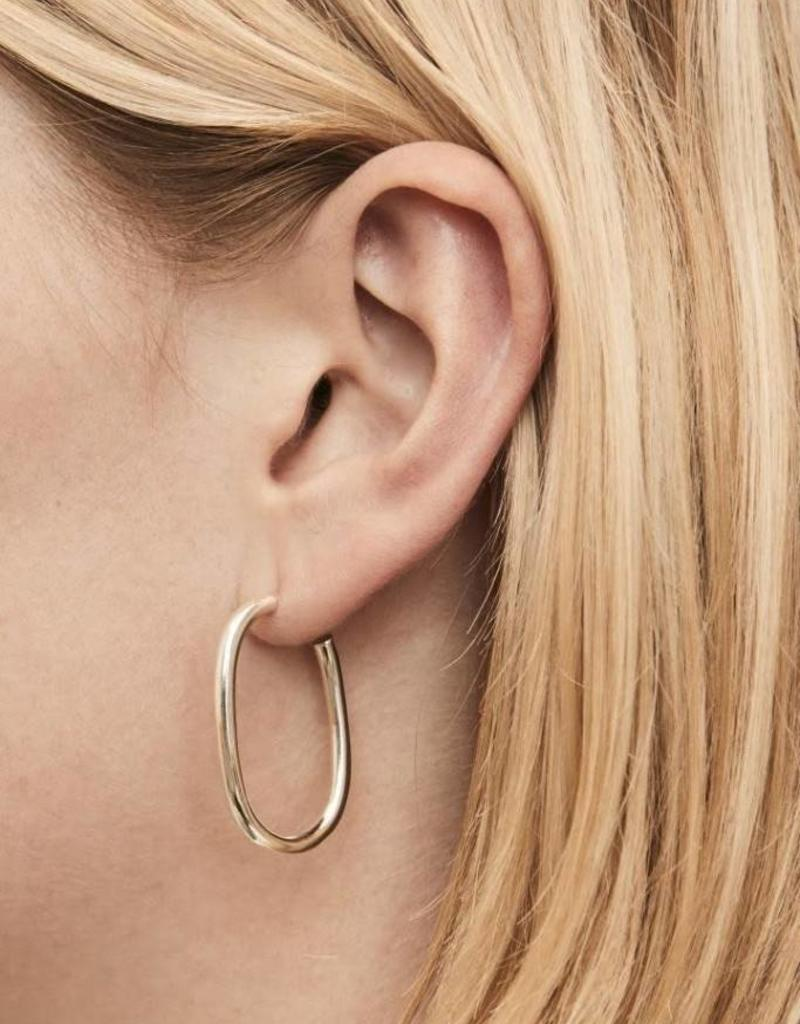 Fashionology Thick oval hoop silver