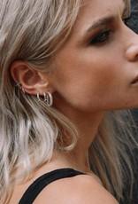 Eline Rosina Triple stoned black zirconia hoops silver