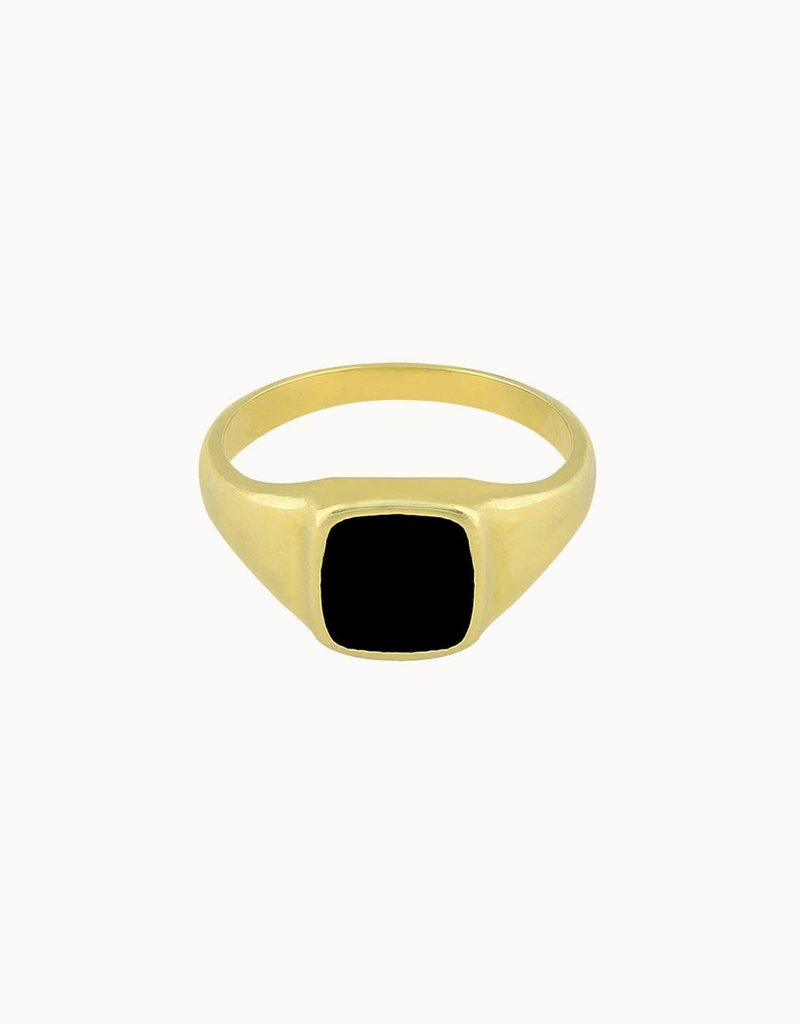 Flawed Square Black Ring Gold