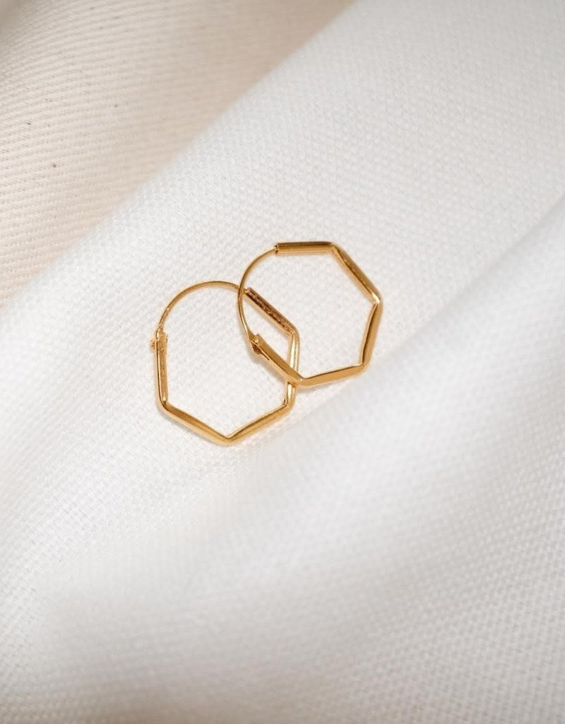 Fashionology Hexagon Hoop Gold Plated