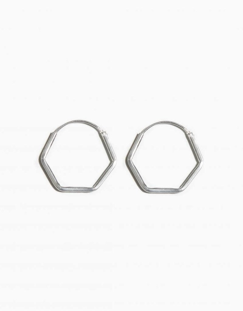 Fashionology Hexagon Hoop Sterling Silver