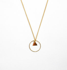 Essyello Circle + Triangle Necklace Gold