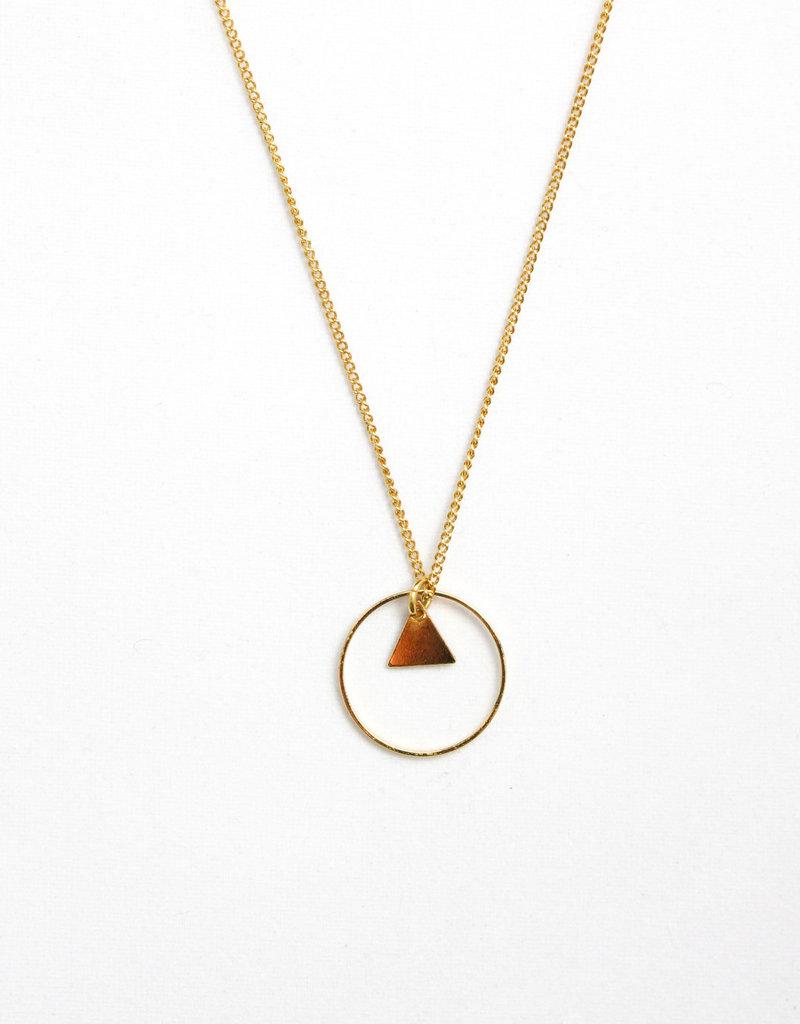 Essyello Circle + Triangle Necklace Gold