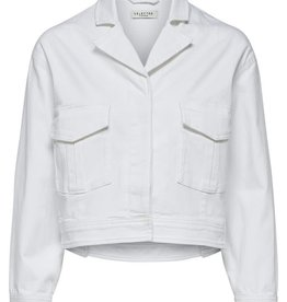 Selected Femme Cropped Denim Jacket White