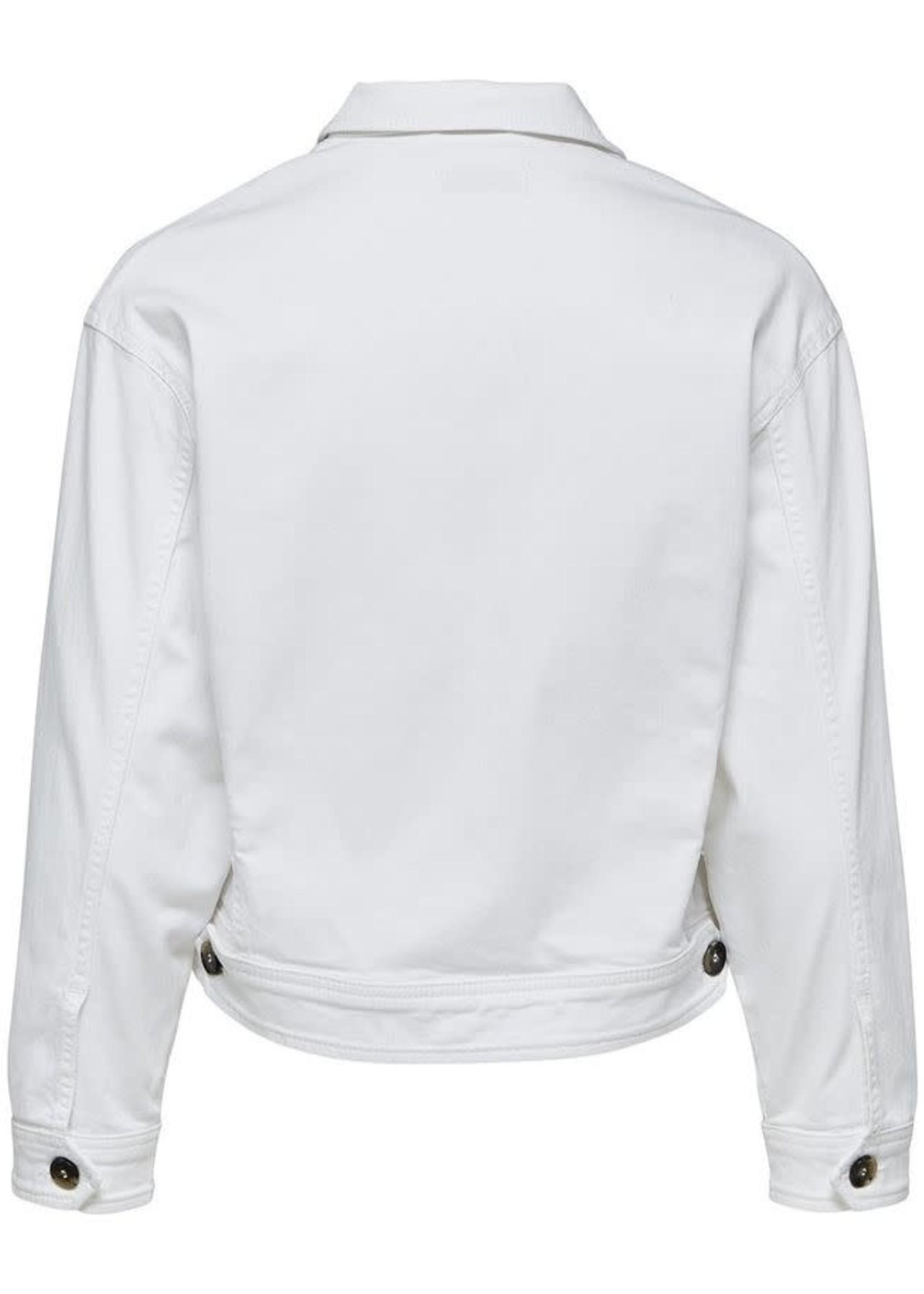 Selected Femme Cropped Denim Jacket White