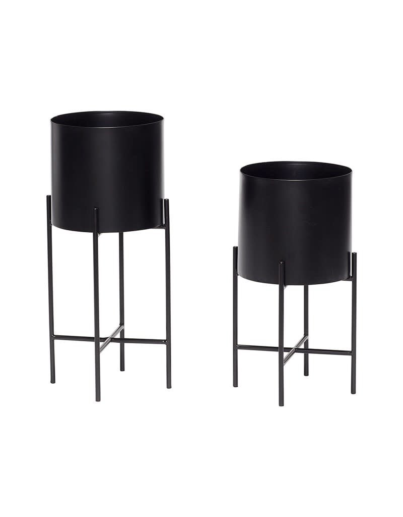 Hubsch Pot w/leg, metal, Black, Medium