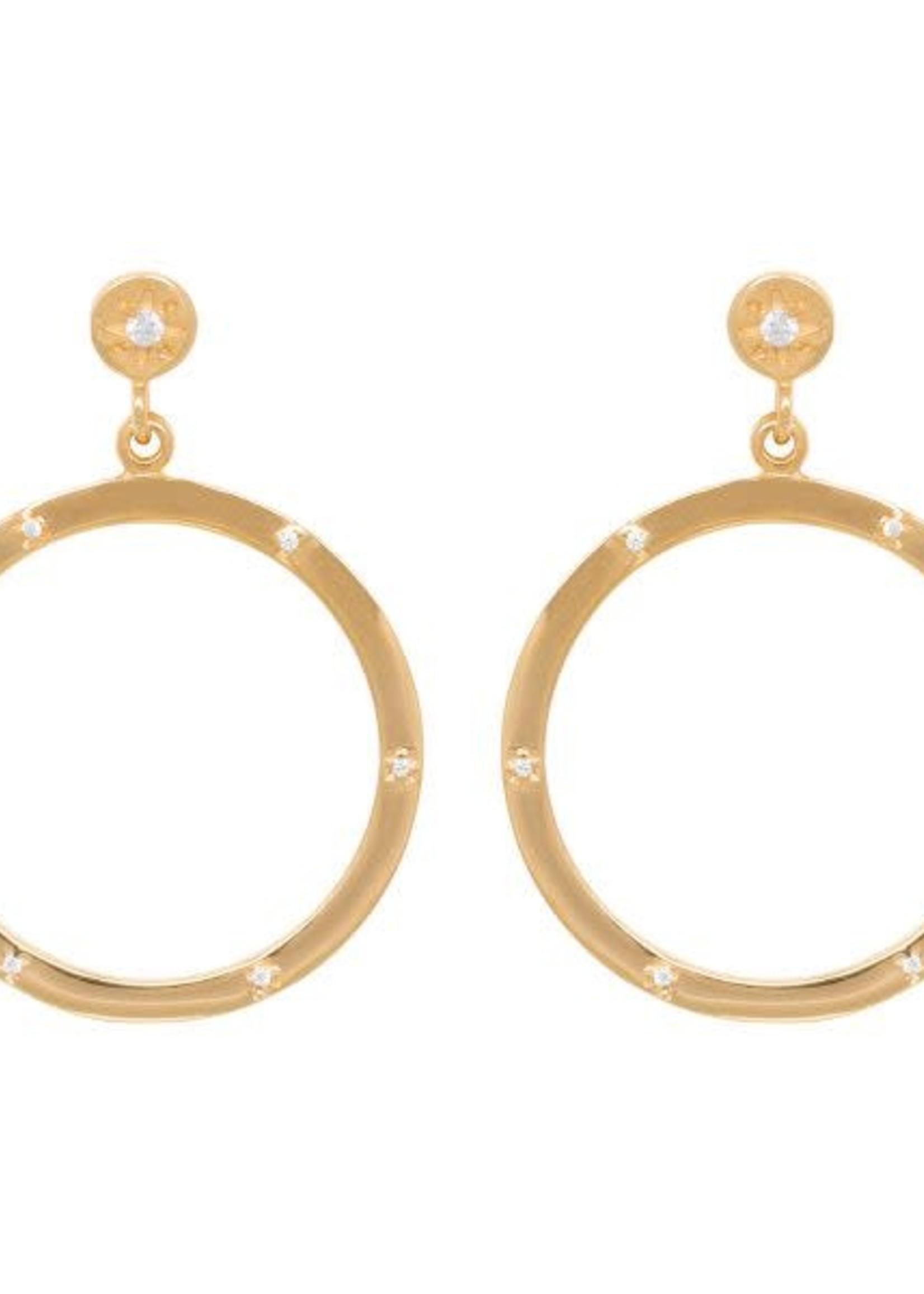 Eline Rosina  Zirconia Dotted hoop earrings in gold plated