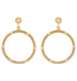Eline Rosina Zirconia Dotted hoop earrings in gold plated