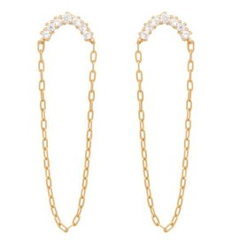 Eline Rosina Half moon zirconia chain earrings