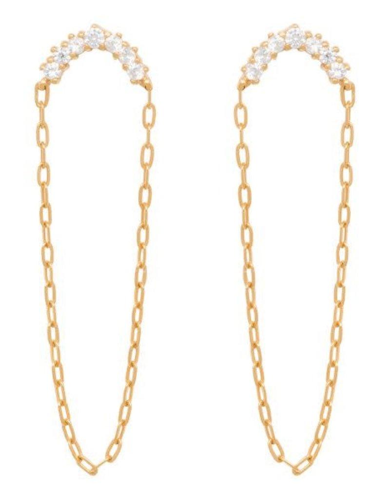 Eline Rosina Half moon zirconia chain earrings