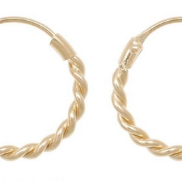 Fashionology Small Rope Hoop Earrings Gold Plated